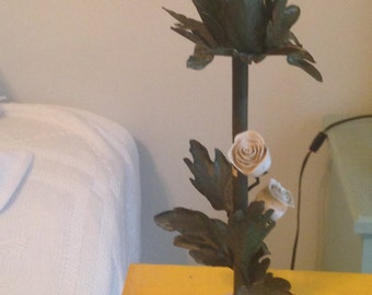 pair of 2 candleholders - porcelain roses and metal