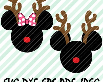 Mickey Minnie Mouse SVG DXF Pdf Mickey Reindeer Christmas Design Mickey Rudolph Cuttable File Cricut Cameo Silhouette Vinyl Cut Files Disney