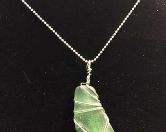 Frosty Green Medium sized Seaglass Pendant