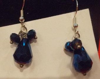 Blue opalescent teardrop earrings