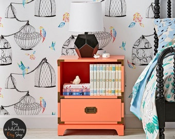 Birdcages with watercolor birds wallpaper, Soft wall mural for nurseries, Peel and stick, Reusable, Removable wall decal #96