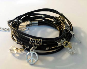 Leather Wrap Charm Bracelet//Peace Sign Charm Bracelet//Boho Leather Bracelet//Black Leather Wrap Bracelet//Leather Charm Bracelet//BOHO