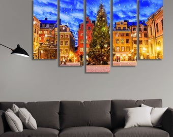 LARGE XL Stortorget Square at Christmas Time Canvas Print Stockholm, Sweden at Night Canvas Wall Art Print Home Decoration - Stretched