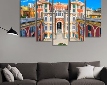 LARGE XL Courtyard of Palazzo Reale in Genoa, Italy Canvas Print Colorful Buildings at Daytime Wall Art Print Home Decoration - Stretched