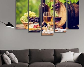 LARGE XL White and Red Wine Bottles, a Barrel, Cheese and Grapes Canvas Wall Art Print Home Decoration - Framed and Stretched - 3027