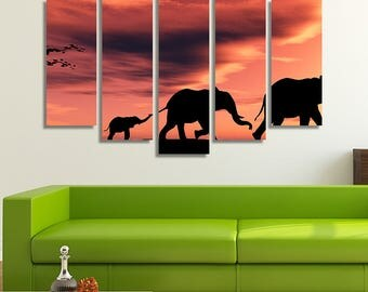 LARGE XL a Family of Elephants at Sunset in Africa Canvas Wall Art Print Home Decoration - Framed and Stretched - 8006