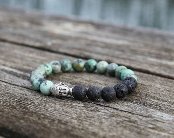 Buddha Bracelet, African Turquoise, Healing Gemstone, Lava Stone, Aromatherapy Jewellery, Essential Oil Diffuser