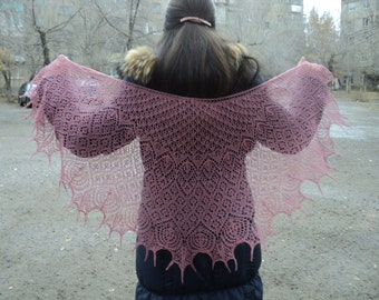 Fishnet shawl with beaded, Handmade, Evening shawl cranberry color, shawl Merino wool with cashmereol