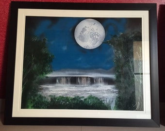 Waterfall under moon light