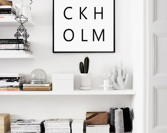 Stockholm Print, Stockholm City, Stockholm, Stockholm Poster, Black and White, Sweden, Scandinavian