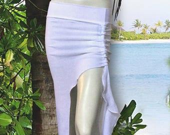 White Gauze Asymmetrical Maxi Skirt