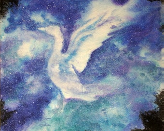 PRINT, Night Sky Dreams, bird flying in the star filled sky