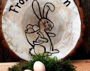 35 cm Happy Easter tree disc Easter decoration Easter Bunny symbol font engraved engraving gift Easter decorations wooden disc unique wood rabbit