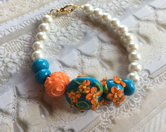 Blue with Orange Flowers and White Faux Pearl Bracelet, Lampwork Jewelry, SRA Lampwork Bead Bracelet, Mothers Day Gift, Gift For Her