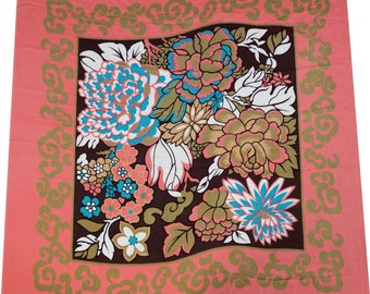 """Salmon Fabric, Floral Print, Dress Making Fabric, Sewing Material, Quilting Fabric, 44"""" Inch Satin Fabric By The Yard FSS132"""