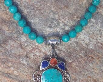 Turquoise Lapis Coral Tibetan Pendant Necklace