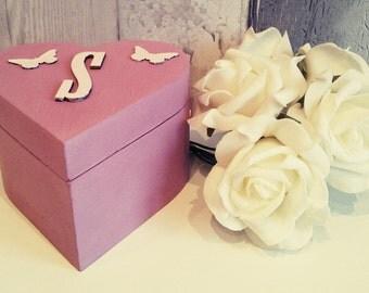 Personalised wooden box, Girl birthday gift, gift box, girls trinket box, heart shaped box, keepsake box, girls jewelry box