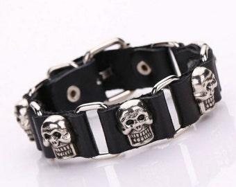 New Leather Skull Bracelet