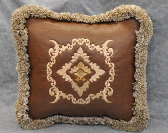 Decorative Pillow - Accent Pillow - Western Pillow - Faux Leather Pillow