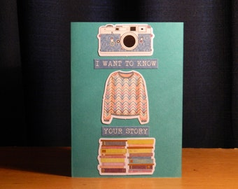I want to know your story - blank greeting card/notecard
