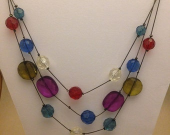 Vintage Multistrand Multicolor Gemstone Necklace