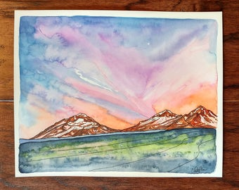 Mountain Sunrise,ORIGINAL watercolor,watercolor painting,8x10,mountain art,illustration,watercolor and ink,Oregon,Bend,pen and ink,morning