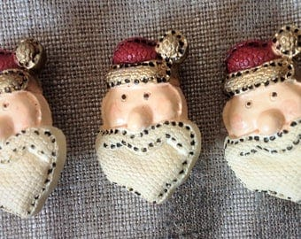 Set of 3 Santa Claus buttons