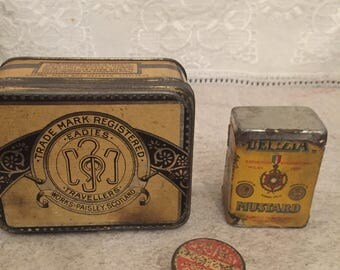 Antique Tin Boxes - Lot of 3 - (1) Eadies Improved Ring Travellers (2) Delizia Mustard (3) Unknown