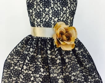 Navy Blue Sleeveless Lace Champagne Lining Gown Wedding Bridesmaid Flower Girl Birthday Graduation Recital Pageant Rustic Vintage Infant