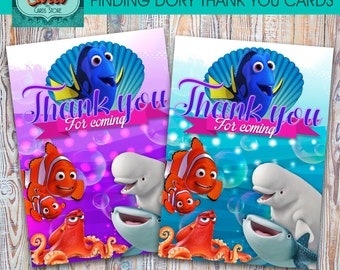 Finding dory printable thank you cards, finding dory digital thank you card, finding dory party, finding dory birthday,nemo,INSTANT DOWNLOAD