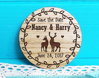 Wooden Save-the-Date Magnets-Deer Save-the-Date magnets-Wood Save the Date Magnets-Wooden Magnets-Engraved Magnets-Rustic Save the Dates