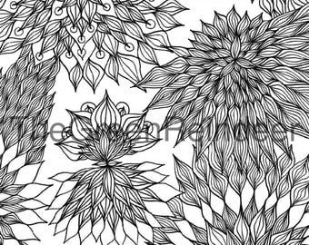 Hand Drawn Flowers/Leaves Abstract Colouring Page Printable, Instant Download