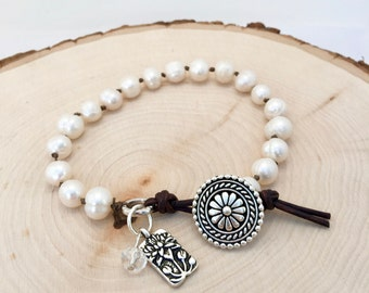 Freshwater Pearl Lotus Leather Wrap Bracelet