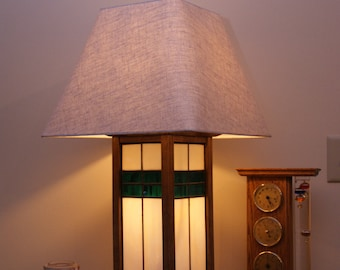 Craftsman Style Lamp with Leaded Glass Inserts