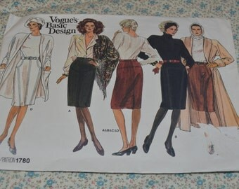 Vogue 1780 Misses Skirt Sewing Pattern - UNCUT - Size 12 14 16 Skirt with Front Yoke and Seam Variations