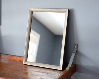 Vintage Wooden Faux Snakeskin Texture Framed Mirror w/New Backing and Hanging Wire