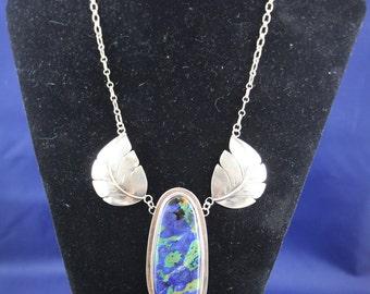 Vintage LA Sterling Silver Necklace with Azurite & Malachite Pendant