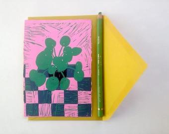 Lino printed card, pilea