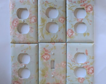 Set of 6 -Blue Floral or Brown Design Outlet and Light Switch Covers