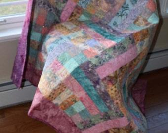 Feminine Quilt, Baby Girl Blanket, Throw or Lap Quilt, Batik, Pink and Multi Color Quilt, Handmade