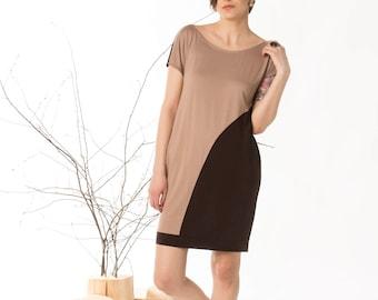Jersey dress, Summer dress, Day dress, Asymmetric dress, Women dress, Tunic dress, Short dress, Unique dress, Brown dress, Casual dress