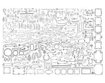 Decorative Elements,Element svg,Leaf svg,Flower svg,banner svg,eps,ai format for Design/ Print/ Silhouette Cameo/Cricut and Many More