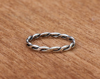 Braided Ring, Sterling Silver Braided Ring, Silver Ring, Stackable Ring, Fashion Ring , Silver Jewellery, Sterling Silver Ring, JR0006