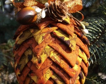 Quilted Pinecone Ornament