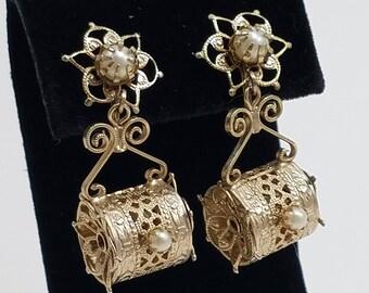 Very Unique Screw Back Rhinestone & Gold Filigree Earrings