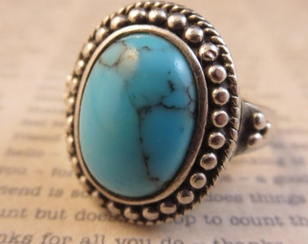 Turquoise Ring Vintage 925 Sterling Silver Size 7 1/2 Southwest Navajo Style