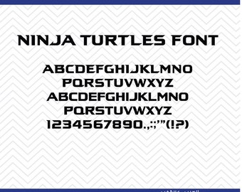 Ninja Turtles Font (SVG, EPS, PNG, dfx) Cut Files for use with Silhouette, Cricut, & other Cutting Machines