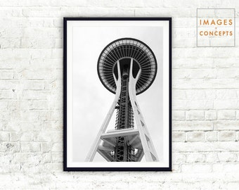 Modern Art Print ~ Seattle Travel Poster ~ Large Wall Art ~ Black and White ~ Modern Photography ~ Printable Decor ~ Instant Download