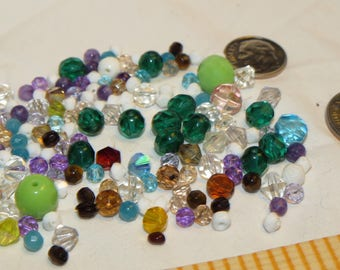 Vintage Glass Bicone, hexagon shaped beads