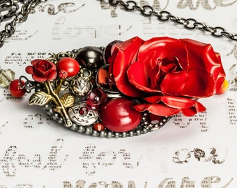 Red rose collage necklace, red and silver, roses, vintage jewelry, recycled jewelry